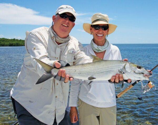 Captain Ted Wilson with Melanie in Islamorada, Florida Keys. Photo courtesy of CaptainTedWilson.com