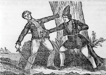 Mary Read killing her antagonist. From: The Pirates Own Book, 1842, p. 389. Source: United States Library of Congress's Prints and Photographs division