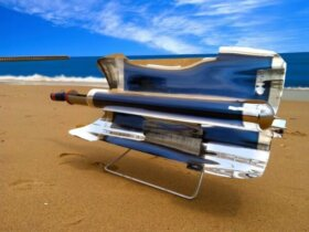 GoPro Solar Stove showcased on the beach.
