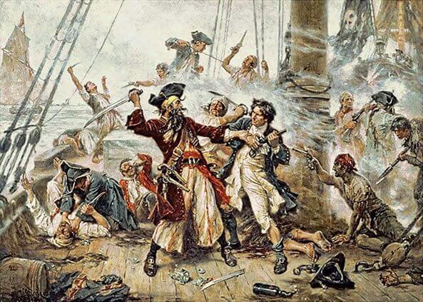 Capture of the Pirate, Blackbeard, 1718 depicting the battle between Blackbeard the Pirate and Lieutenant Maynard in Ocracoke Bay. Painting by Jean Leon Gerome Ferris(1863–1930)