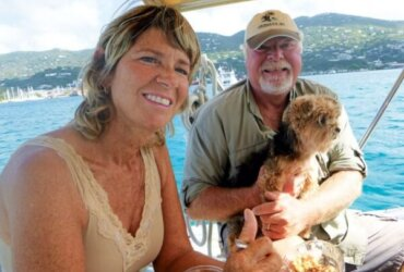 Peter and LeeAnn of Two Much Fun with crew, Mimi, aboard La Luna