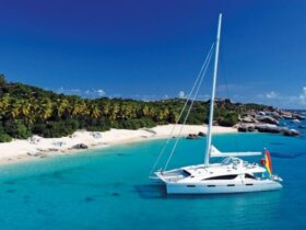 The crewed charter yacht Zingara anchored off Virgin Gorda, BVI. Courtesy of www.charterportbvi.com