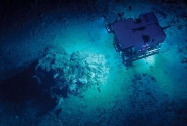 An ROV cruises the Gulf of Mexico seafloor with NOAA's research ship, Okeanos Explorer. Credit: NOAA