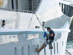 Deck crew keep superyachts in Bristol condition. Photo credit is: Suki@YachtingToday.TV