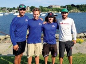 Team USVI (from left): William Bailey, Max Nickbarg and Tyler Rice practice in Newport before the regatta with match racing champion Taylor Canfield
