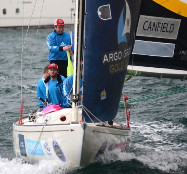 Taylor Canfield first through to the Quarter Finals in racing in Group 2 Qualifying round-robin matches on Day 2 of the Argo Group Gold Cup, Stage 6 of the Alpari World Match Racing Tour. © Talbot Wilson