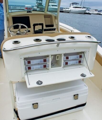 The optional fishing console on the 300 is very functional. Photo by Jeff Dennis