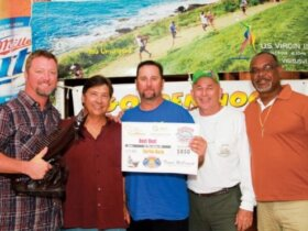 Saint Croix Wahoo Tournament Top Boat, Turtle Daze (from left): Chuck Porter, T.J. Lindsey, Joe Blank, Joel Uretta, Festus Pemberton. Photo: Alda Anduze