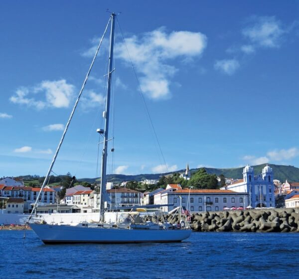 La Luna at anchor in Angra, Terceira. Photo by Barbara Hart