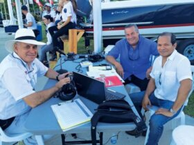 Organizers and local media worked hard to get the word out about this first annual tournament and upcoming nautical events at Puerto Del Rey, from left: Benito Pinto, editor of La Regata magazine in Puerto Rico; Richard Christiansen, managing director of Puerto Del Rey, and Josue Hernandez, who did a live radio remote for WMDD. Credit: Blanca Rodriguez