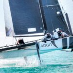 GC32 foiling catamaran Argo having rounded the windward mark. Photo by Ingrid Abery