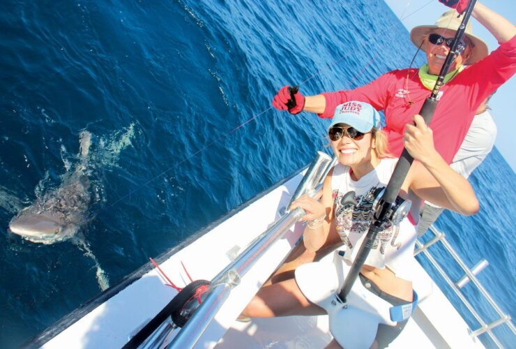 Mariko Izumi and Captain Judy Helmey are two happy fishermen! Mariko is the host of Hookin Up on World Fishing Network and Captain Judy filmed a show with her in October 2014, which should air sometime in the spring of 2015. Photo by Captain Judy Helmey