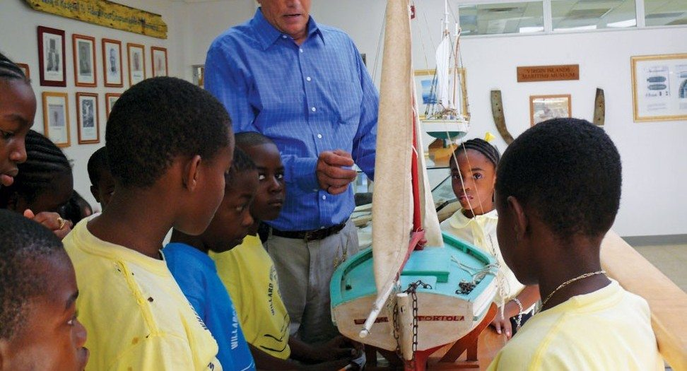 Curator Geoffrey Brooks accompanies students on a tour of the Virgin Islands Maritime Museum. Photo courtesy of Geoffery Brooks