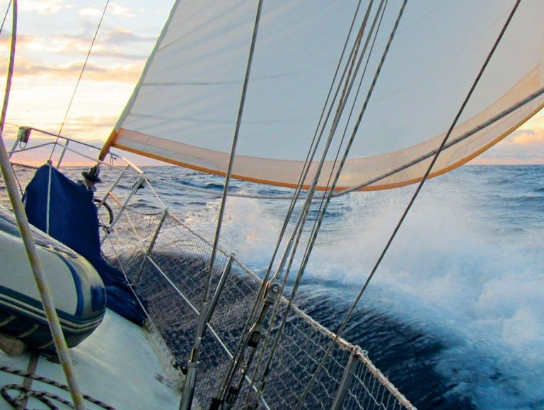 As night approaches, perhaps reefing might be a good idea. Photo by Birgit Hackl