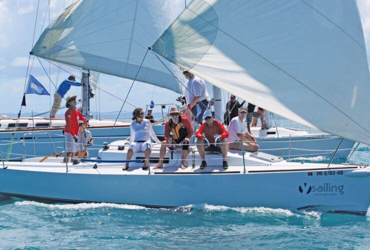Y-Sailing, J/92, leading the Jib & Main Class at the Puerto Del Rey Sailing Challenge. Photo: Carlos Lee