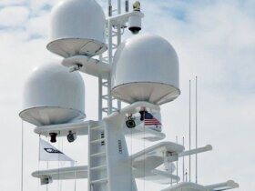 Antenna farm on a super yacht. Photo By Glenn Hayes