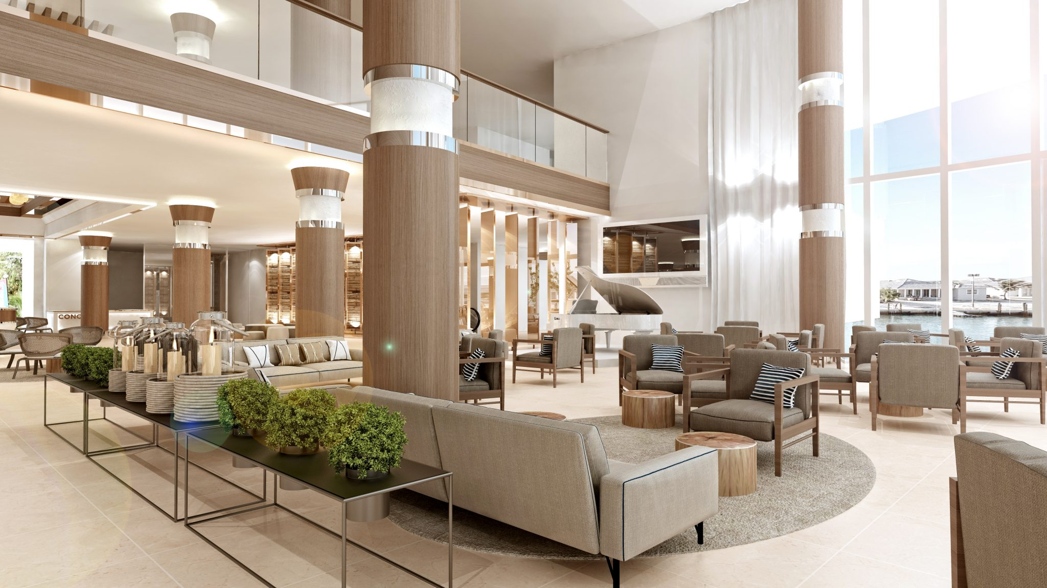 Rendering of the first floor of Resorts World Bimini, due to open this fall.