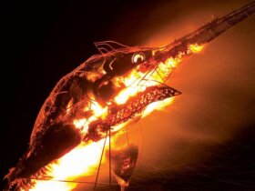 Burning Marlin sculpture lights up the skies in Bimini. Photo: Duncan Brake