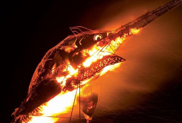 Burning Marlin sculpture lights up the skies in Bimini. Photo: Duncan Brake