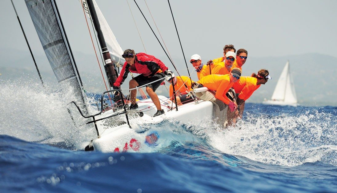 Smile and Wave head up wind to the mark during the Puerto Rico Heineken International Regatta. Photo by Todd VanSickle