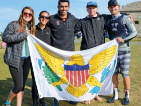 L to R: Taylor Ladd (member of Harvard University Sailing Team; however Harvard not in the Finals), Nikki Barnes (U.S. Coast Guard Academy/2017), William Bailey (Boston College/2015), Alec Tayler (Fordham University/2017), and Ian Barrows (Yale University/2017). Credit: Dean Barnes