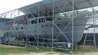 1962 Burger 68ft motor yacht, just one of the total refits currently underway at PYS