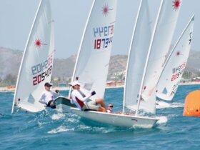 The fleet rounds the windward mark during the 26th Heineken Light Caribbean Open Laser Championships held in Orient Bay, St. Martin, on June 13-14. Photo Robert Luckock