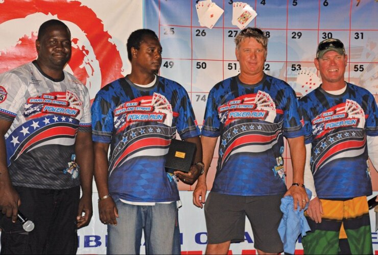 USVI Poker Run (from left): Organizer Guilderoy Sprauve, winner Terrance Phillips, second place Gunnar Watson and third place Tony Coffelt
