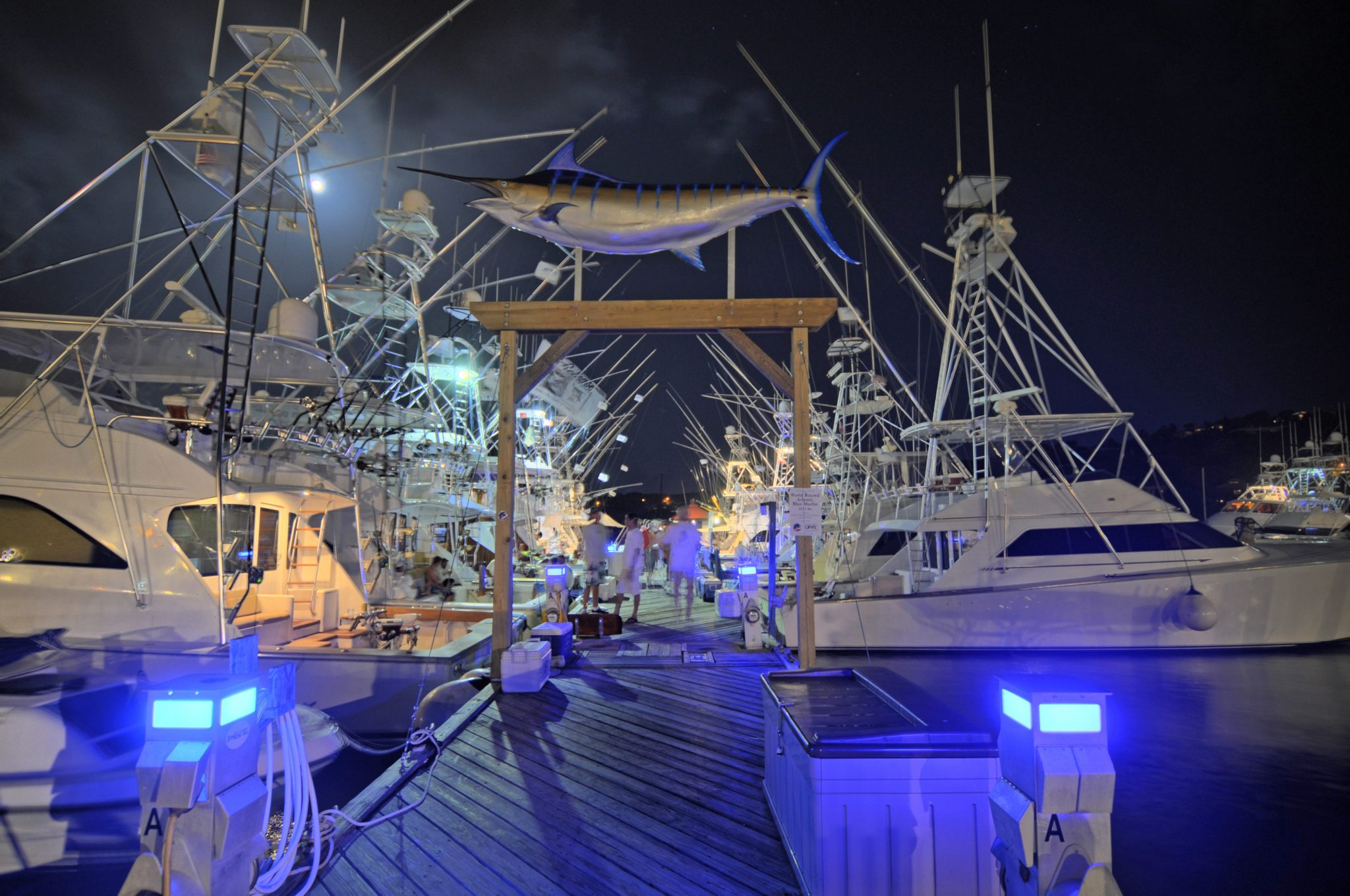 ABMT competitors on A Dock at IGY's AYH Marina in the light of the full moon. Credit: Dean Barnes