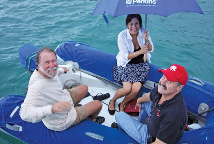 Barb and Tom Gerker of Parts and Power, Tortola, arrive at Ganesh to mooch a meal off Fatty