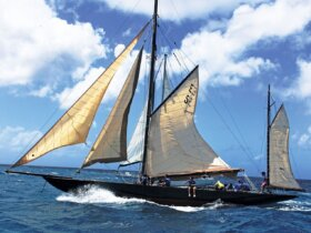 Kate rigged as a gaff yawl
