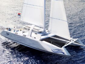 An artist's impression of Fujin catamaran under sail