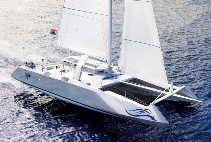 An artist's impression of Fujin catamaran under sail