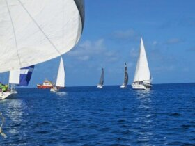 Downwind start for the fleet as they leave Carriacou. Photo: Connie Martin