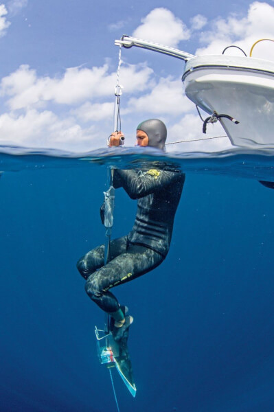 The free diver's companion in this category is a weighted sled that helps speed up their decent great depth. Picture shows Coste during a training session. Picture courtesy of underwater photographer Casper Douma