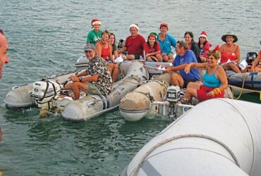 cruisers go boat to boat singing Christmas carols in Cholon, Columbia Photo by Liesbet Collaert