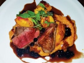 Harvest Habersham's farm to table seared duck breast dinner.
