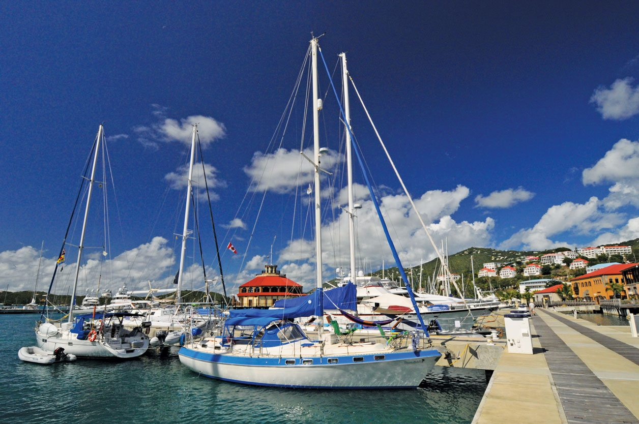 Charlotte Amalie, St. Thomas, USVI:Yachts docked at IGY's Yacht Haven Grande, located east of Charlotte Amalie and about one mile from the town center. Photo by Dean Barnes