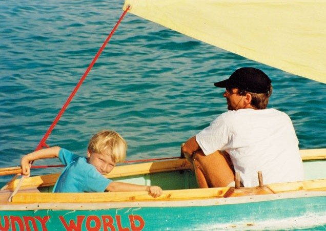 Kess sailing Funny World with his Pop. Photo by Janet Hein