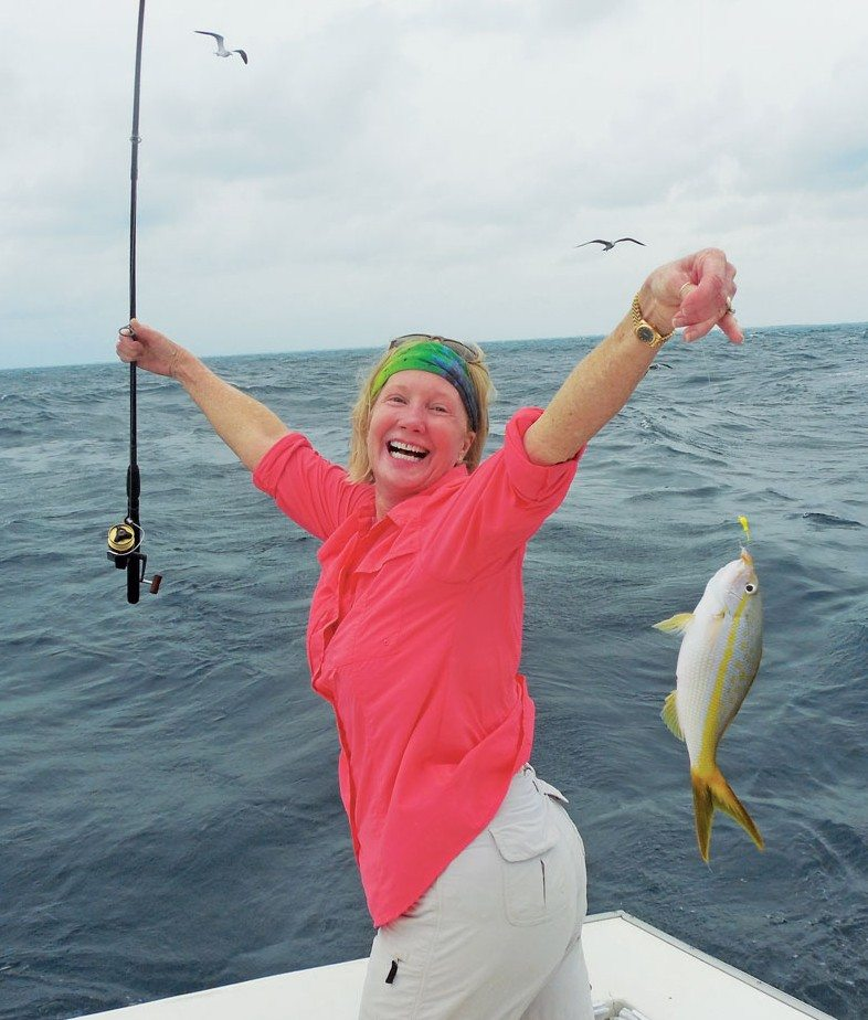 """Ladies, Let's go Fishing"" Keys University; Theresa Mathis, St. Augustine, FL catches a yellowtail snapper aboard Blue Chip Too"