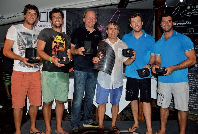 Top teams at this year's Cata Cup: 1st - BEL 1 (St-Barth Sail Racing Team) Patrick Demesmaeker and Olivier Gagliani (center); 2nd - FRA 9 (Allianz 2) Orion Martin and Charles Gaté (left), and 3rd - FRA 56836 (Architectonik) Gurvan Bontemps and Benjamin Amiot (right) Photo: Rosemond Gréaux