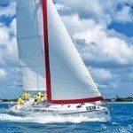 Sunsail bareboat racing to windward in the St. Maarten Heineken Regatta. Photo: Laurens Morel