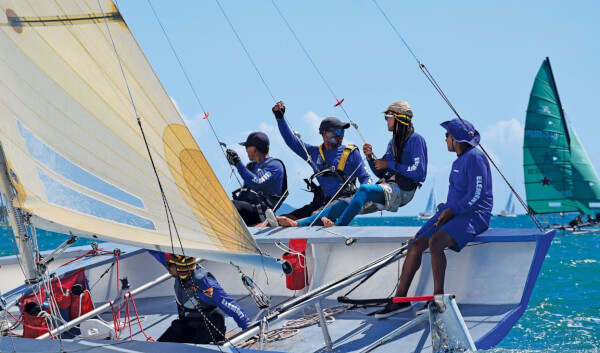 Discover the Caribbean regatta: Element, owned and skippered by Felix Bermudez of Santa Isabel, Puerto Rico, raced in the 24ft native-built Chalana class, where she finished second. Photo by Maria Fernanda Rodriguez