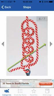 Fishing Apps: Detailed photos on how to tie a clinch knot on KnotGuide