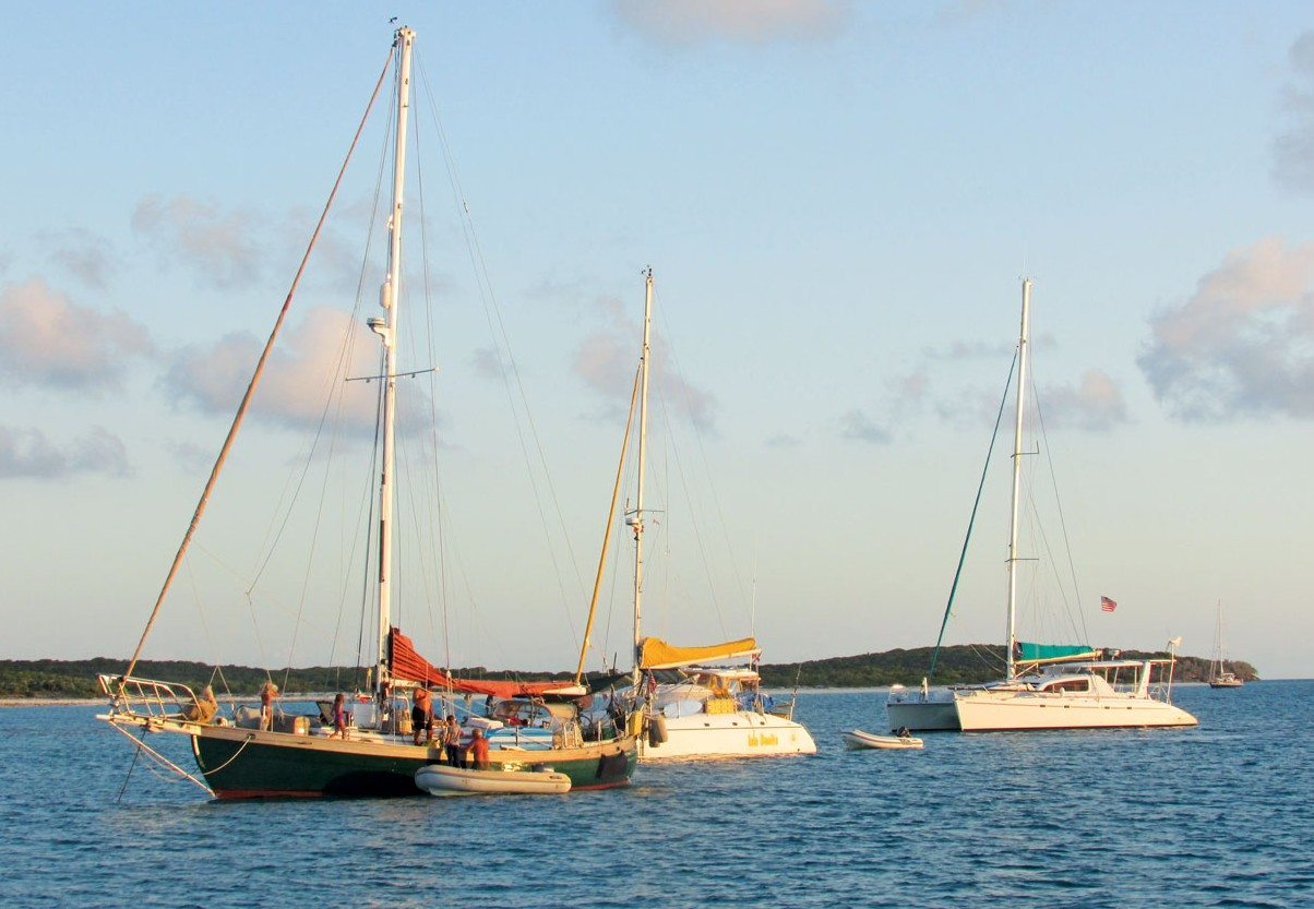 Cruising the Ragged Islands:The kid boats at Raccoon Cay anchorage. Photo by Rick Caroselli