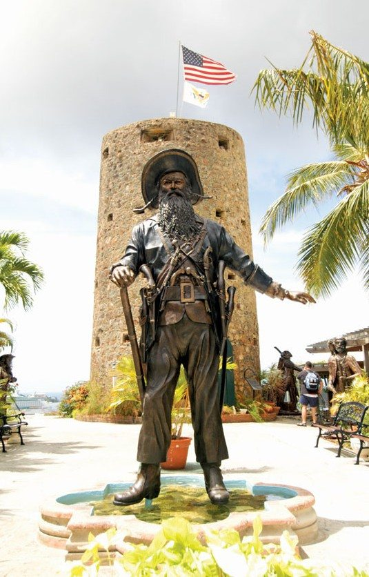 Charlotte Amalie, St. Thomas, USVI:One of the many life-sized bronze pirate statues at Blackbeard's Castle, located at the top of the 99 Steps in Charlotte Amalie. Photo by Dean Barnes