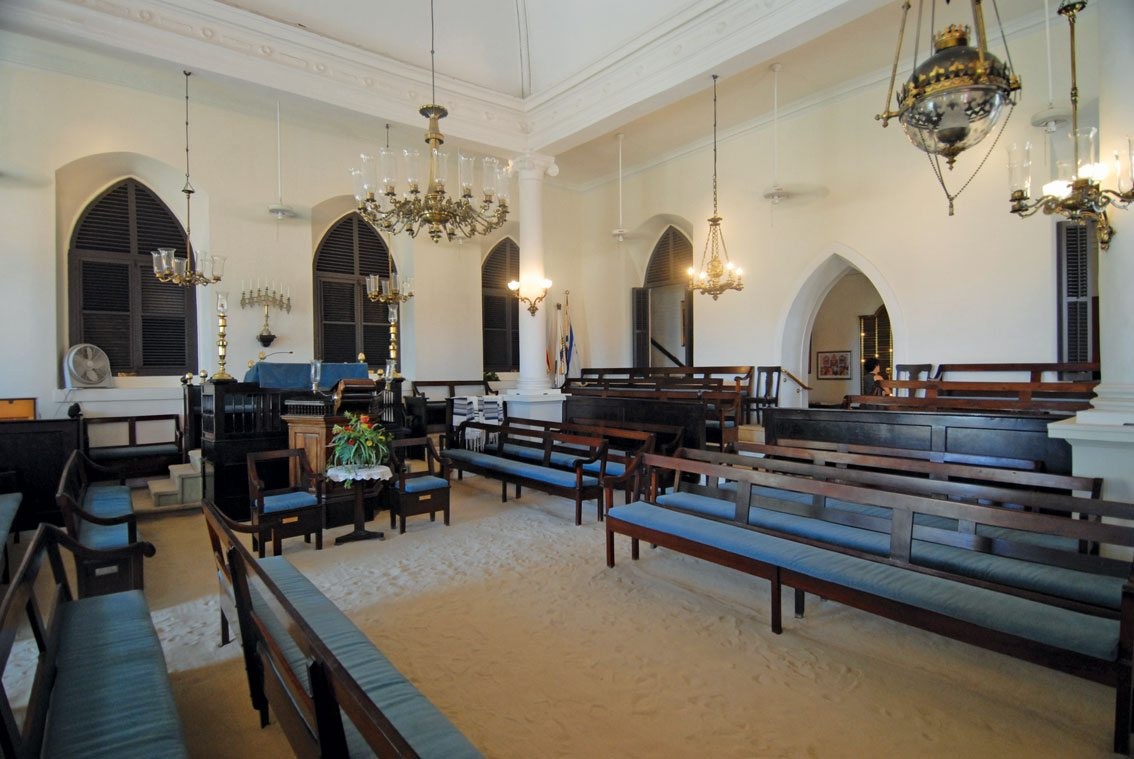 Charlotte Amalie, St. Thomas, USVI:St. Thomas Synagogue is the second oldest in the Western Hemisphere. Note the historic sand floors. Photo by Dean Barnes