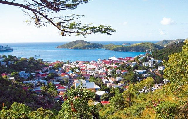 Looking over Charlotte Amalie from the hilltops above town. Photo by Dean Barnes