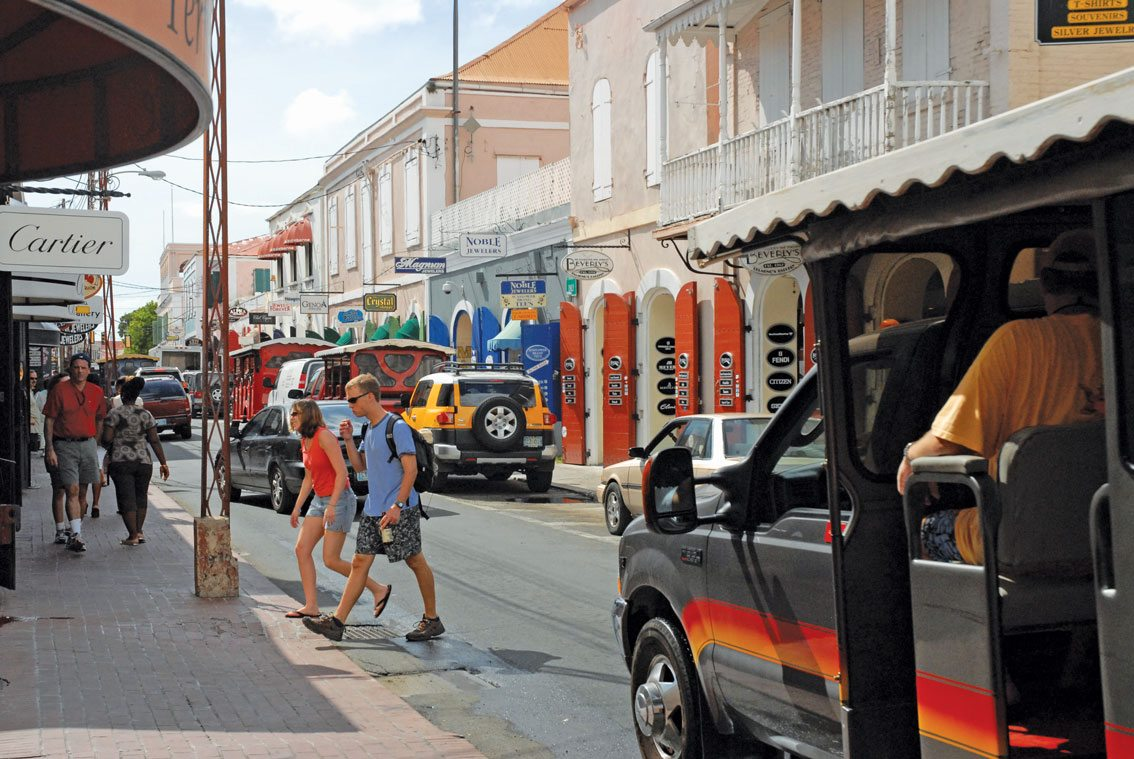 Charlotte Amalie's shopping district, Main Street. Photo by Dean Barnes