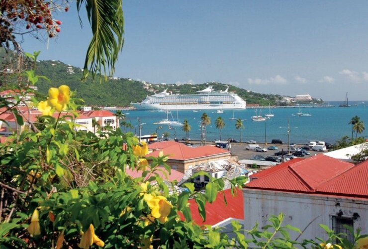 Charlotte Amalie, St. Thomas, USVI:From Blackbeard's Castle, a view of the Danish- style red rooftops in Charlotte Amalie looking over the harbor to the cruise ship dock. Photo by Dean Barnes